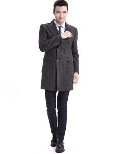 阿仕顿男装新品长款双排扣呢大衣