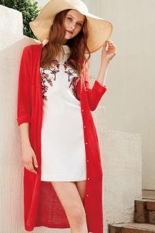 羽之莉2017年春夏新款红色针织外衫