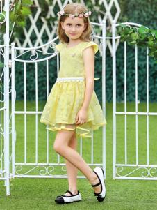 M&Q大眼蛙黄色蕾丝连衣裙