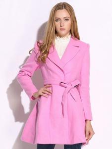 VIVIdion女装粉色风衣