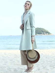 ALSCANA女装新品西装领修身呢大衣