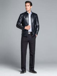 凯撒休闲装秋冬新品黑色皮衣拉链外套