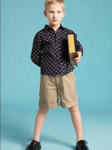 伊顿风尚童装男童波点衬衫