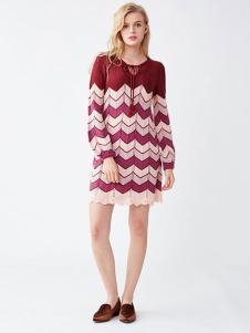 LilyBrown女装新品波浪纹连衣裙