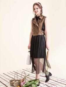 Pit女装新品黑色两层纱裙 款号273238