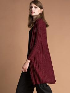 雅意娜菲女装新品红色针织外套长衫