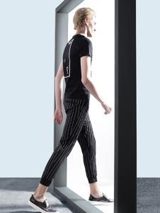 新升流派黑色条纹九分裤