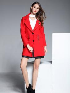 彤欣格红色中款翻领呢外套