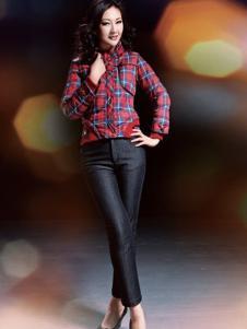 美迪菲女装格纹短款棉服