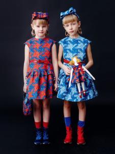 IKKI(安娜与艾伦)童装新品收腰女裙