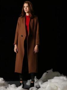 天使舞台咖啡色长款呢大衣