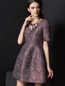 Enaco爱妮格女装复古花样收腰连衣裙