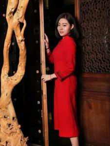 木棉道女装新品七分袖红色连衣裙