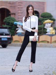 2017年依贝尔春夏新品黑白领白衬衫