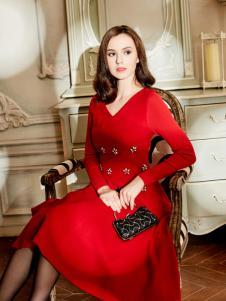 尚约秋冬红色打底裙新款