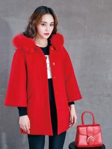 雅奴天使红色宽松大衣