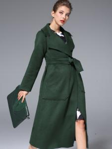 ZIMMUR2017春季新款绿色大衣