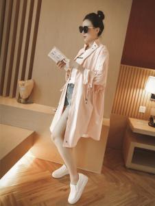 WW.JS.DEER女装新品粉色长款外套