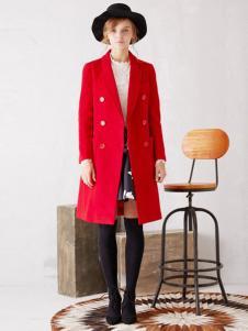 紫淑女装新品红色西装领修身长款大衣