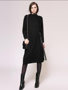 Zopin作品女装黑色个性收腰连衣裙