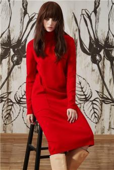 爱特爱2017新品红色连衣裙
