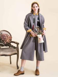 Pit女装新品灰色西装领中长款大衣