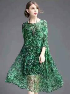 色弋瑞绿色印花时尚连衣裙