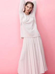 MK女装新品白色褶裙