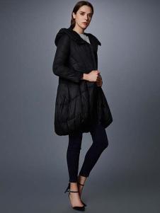 艾诺丝·雅诗女装秋冬新品黑色廓形棉服