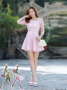 2017年依贝尔春夏新品粉色蕾丝裙