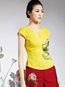 千唐绣女装2017春夏新品黄色印花收腰上衣