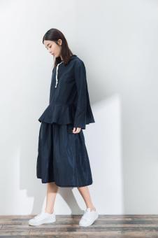 2017一席之地春夏新品蓝色棉麻套装