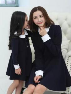 52017亲子装新品黑色娃娃领母女裙