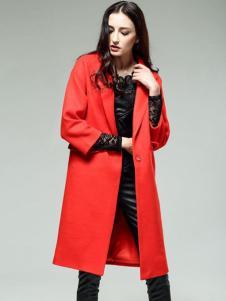 KISSFAD吻时尚女装红色过膝西装领大衣