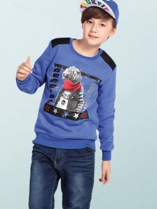 OFFSIDE越位少年装蓝色动物印花T恤