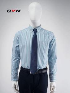 秋意浓纯棉蓝灰色条纹商务衬衫RM08091052合体版
