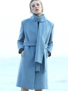 ALSCANA女装新品蓝色收腰呢大衣