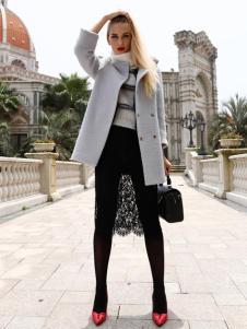 芭藜衣都女装灰色双排扣大衣