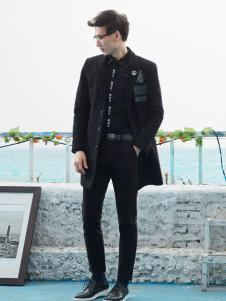空间男装中长款黑色外套