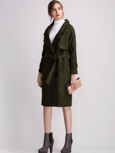 淑女日记女士军绿色大衣