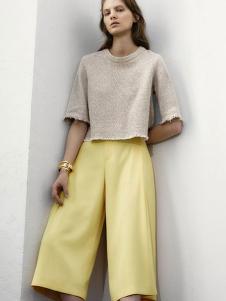 MK女装新品嫩黄色阔腿裤