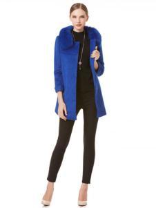 凱撒休閑裝秋冬新品寶藍色毛領大衣