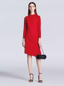 佐色女装2017春装新品不规则裙摆红色连衣裙