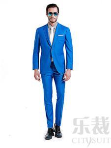 乐裁定制西服2017新款蓝色套装