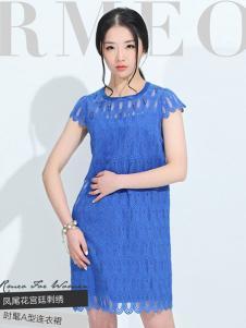 浪漫一身女装新品蓝色蕾丝裙