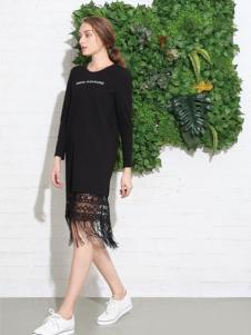 索玛女装新品黑色流苏连衣裙