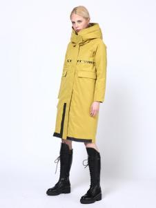 埃文女装秋冬款黄色长款棉服