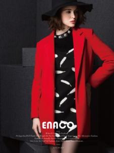 Enaco爱妮格女装大红色西装领呢大衣