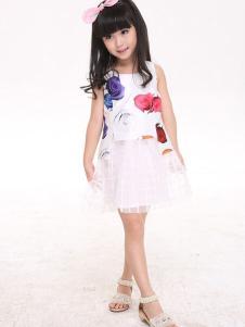 卡儿菲特童装印花裙