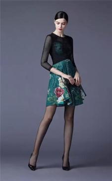 SUSSI古色2017春夏女装绿色印花连衣裙